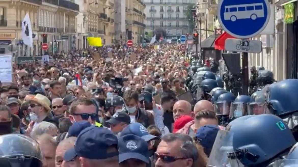 Massive Crowds Protest Vaccine Passports And Mandatory Vaccinations All Over France
