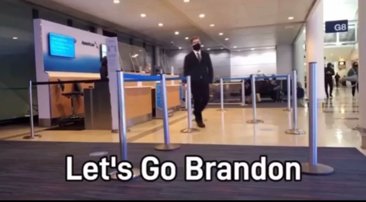 """HILARIOUS! Passenger Trolls Airline Into Paging """"Let's Go Brandon"""" on Intercom at Chicago Airport in a Viral Video"""