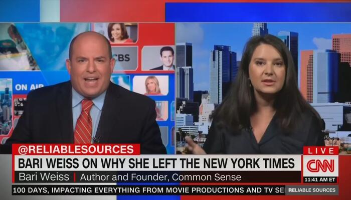 Delusional Brian Stelter Rejects Bari Weiss' Claim Media Censor Certain Stories